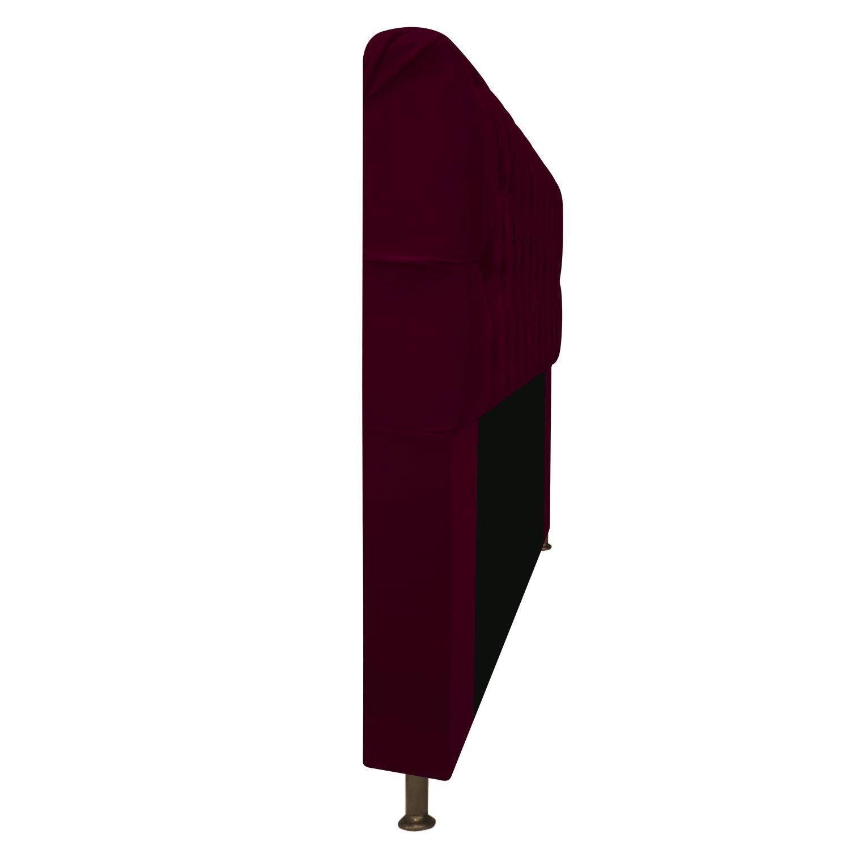 Cabeceira Estofada Lady 90 cm Solteiro Com Capitonê  Suede Bordô - Doce Sonho Móveis