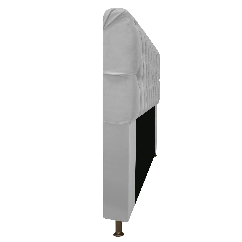Cabeceira Estofada Lady 90 cm Solteiro Com Capitonê  Suede Branco - Doce Sonho Móveis