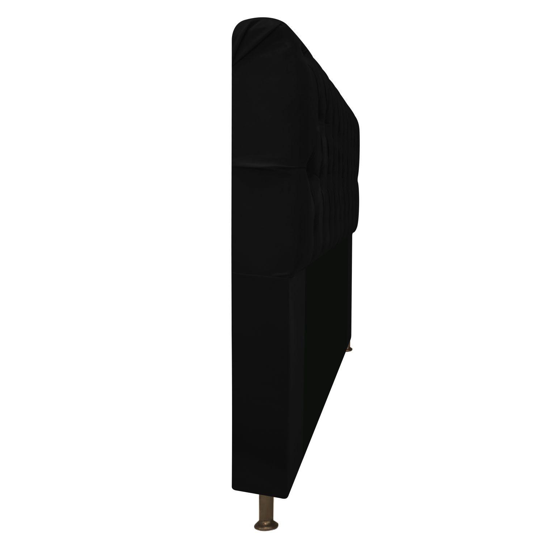 Cabeceira Estofada Lady 90 cm Solteiro Com Capitonê  Suede Preto - Doce Sonho Móveis