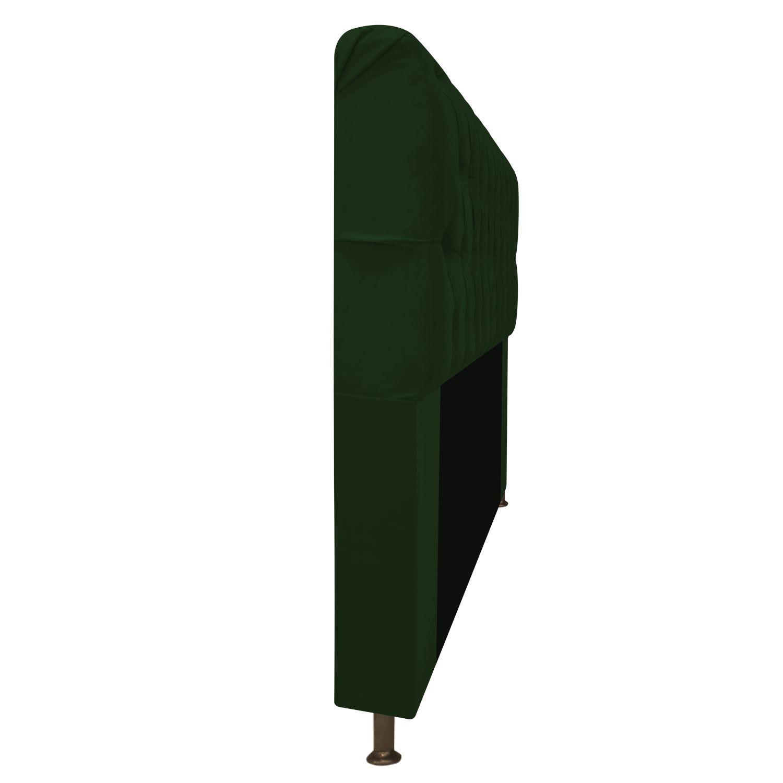 Cabeceira Estofada Lady 90 cm Solteiro Com Capitonê  Suede Verde - Doce Sonho Móveis
