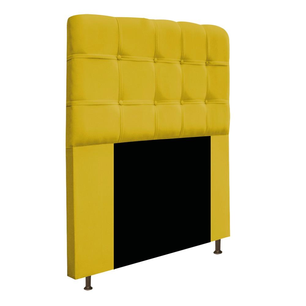 Cabeceira Estofada Mel 100 cm Solteiro Com Botonê Suede Amarelo - Doce Sonho Móveis