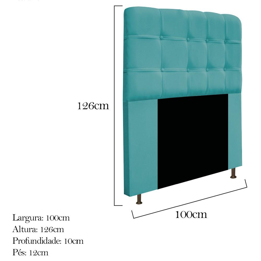 Cabeceira Estofada Mel 100 cm Solteiro Com Botonê Suede Azul Turquesa - Doce Sonho Móveis