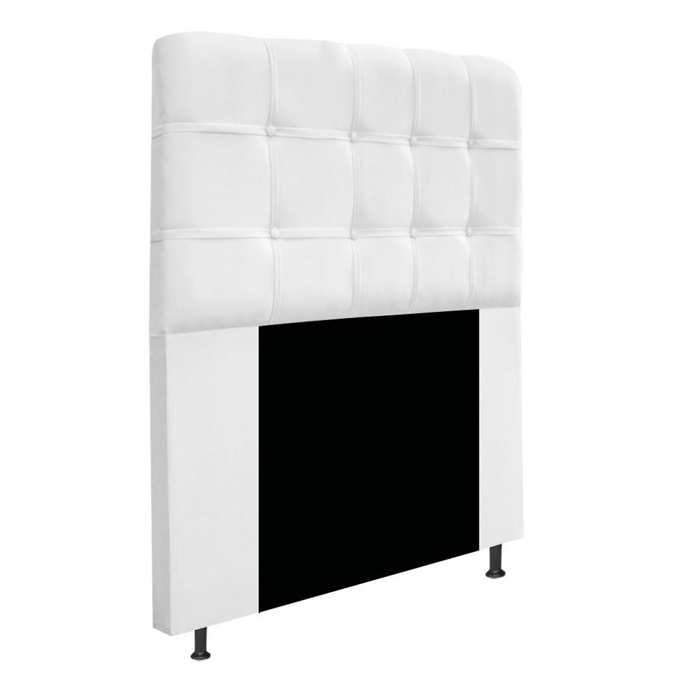 Cabeceira Estofada Mel 100 cm Solteiro Com Botonê Suede Branco - Doce Sonho Móveis