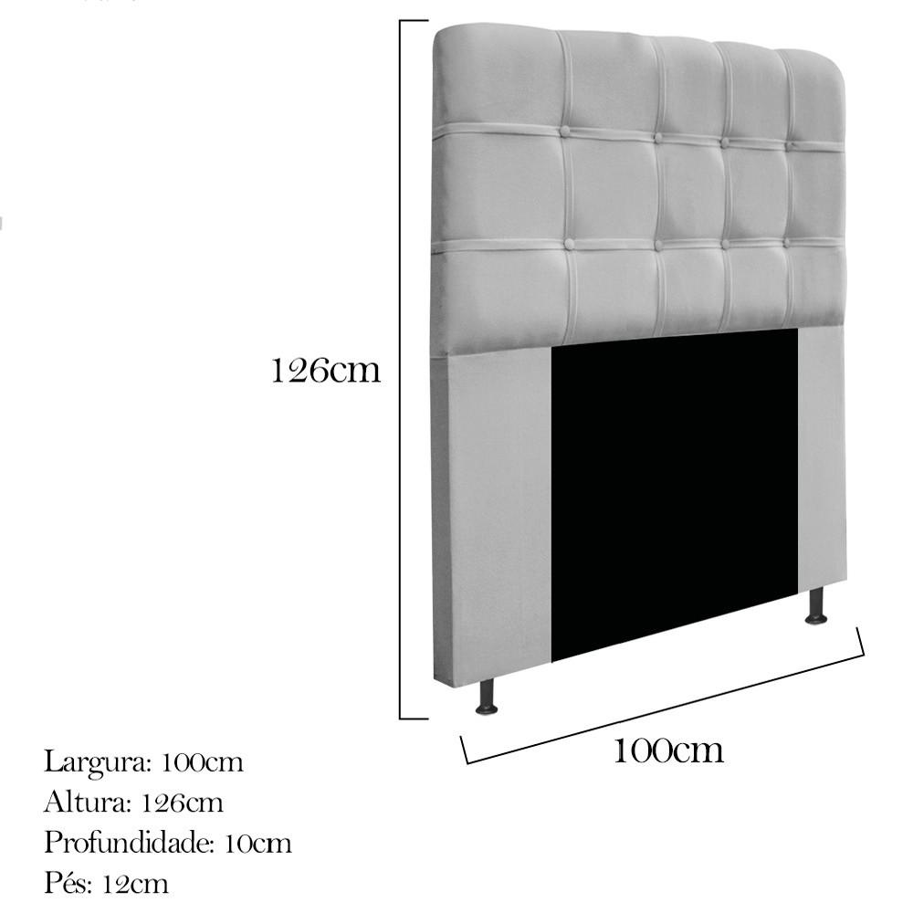 Cabeceira Estofada Mel 100 cm Solteiro Com Botonê Suede Cinza - Doce Sonho Móveis