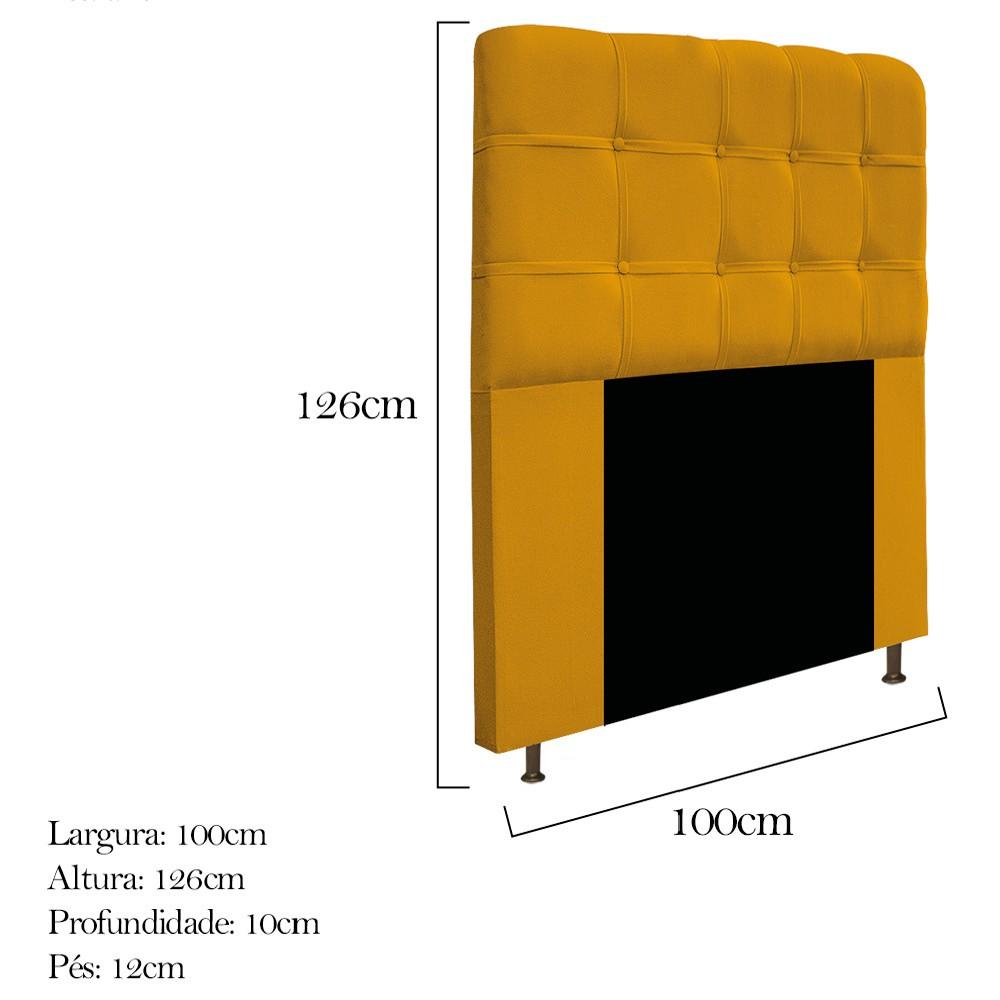 Cabeceira Estofada Mel 100 cm Solteiro Com Botonê Suede Mostarda - Doce Sonho Móveis