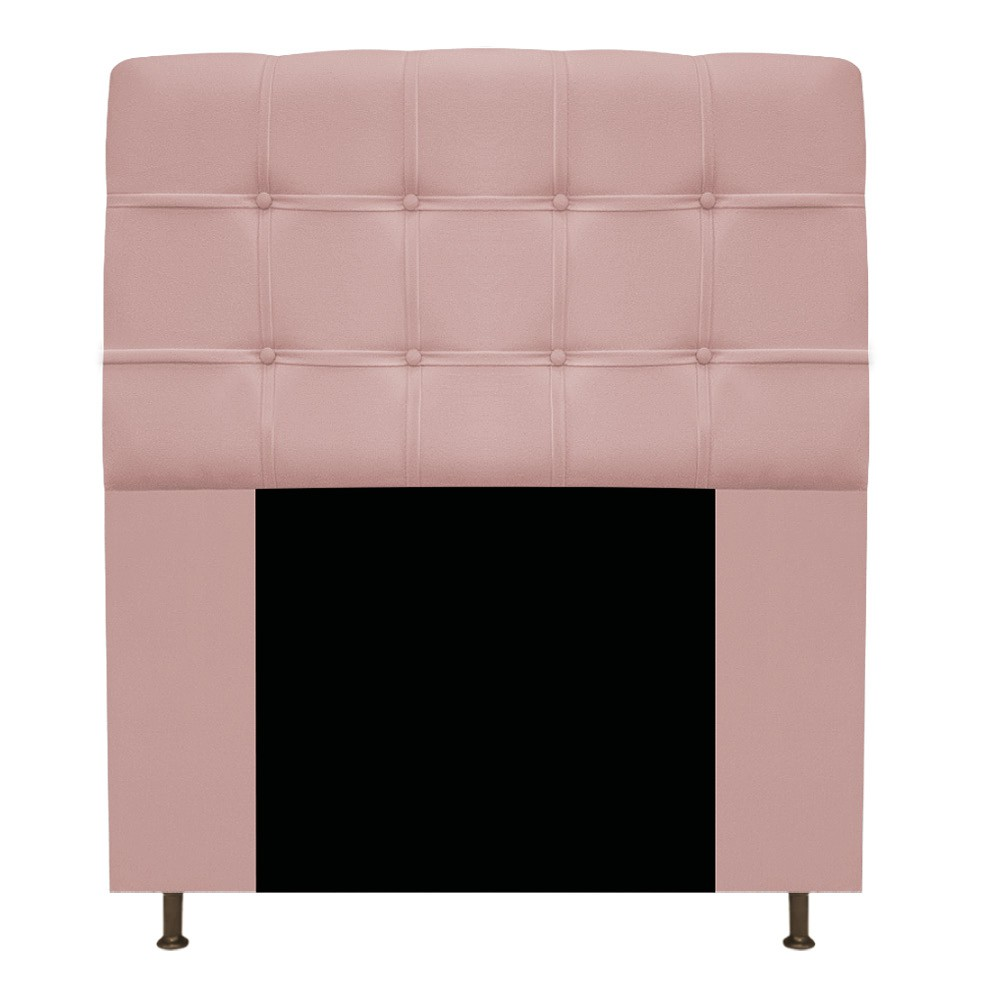 Cabeceira Estofada Mel 100 cm Solteiro Com Botonê Suede Rosê - Doce Sonho Móveis