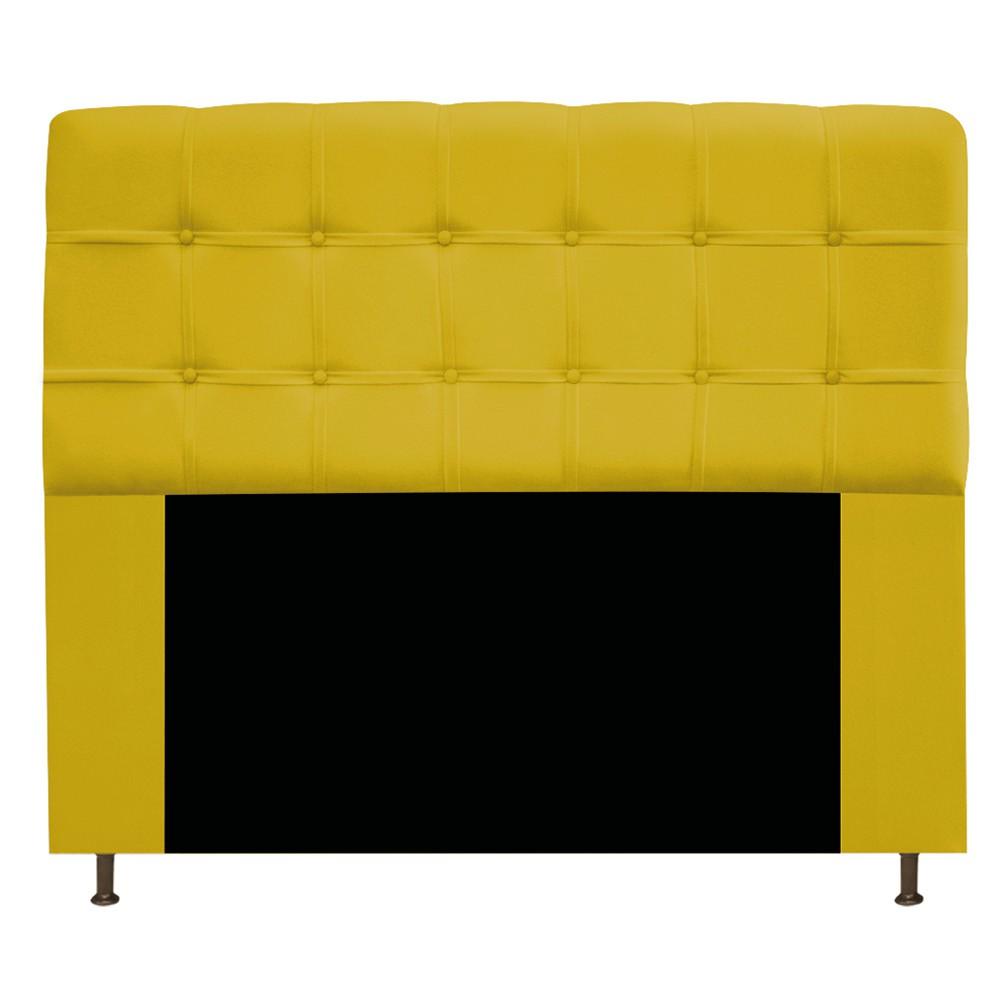 Cabeceira Estofada Mel 140 cm Casal Com Botonê  Suede Amarelo - Doce Sonho Móveis