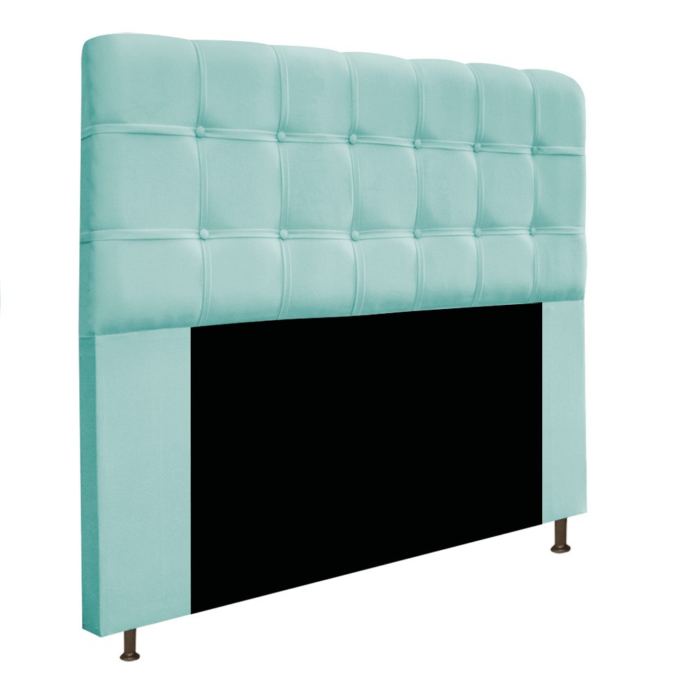 Cabeceira Estofada Mel 140 cm Casal Com Botonê  Suede Azul Tiffany - Doce Sonho Móveis