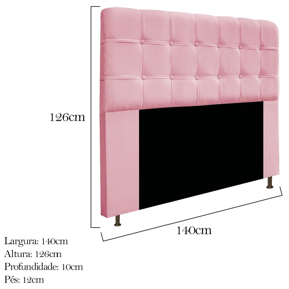 Cabeceira Estofada Mel 140 cm Casal Com Botonê  Suede Rosa Bebê - Doce Sonho Móveis