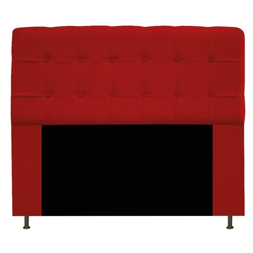 Cabeceira Estofada Mel 140 cm Casal Com Botonê  Suede Vermelho - Doce Sonho Móveis