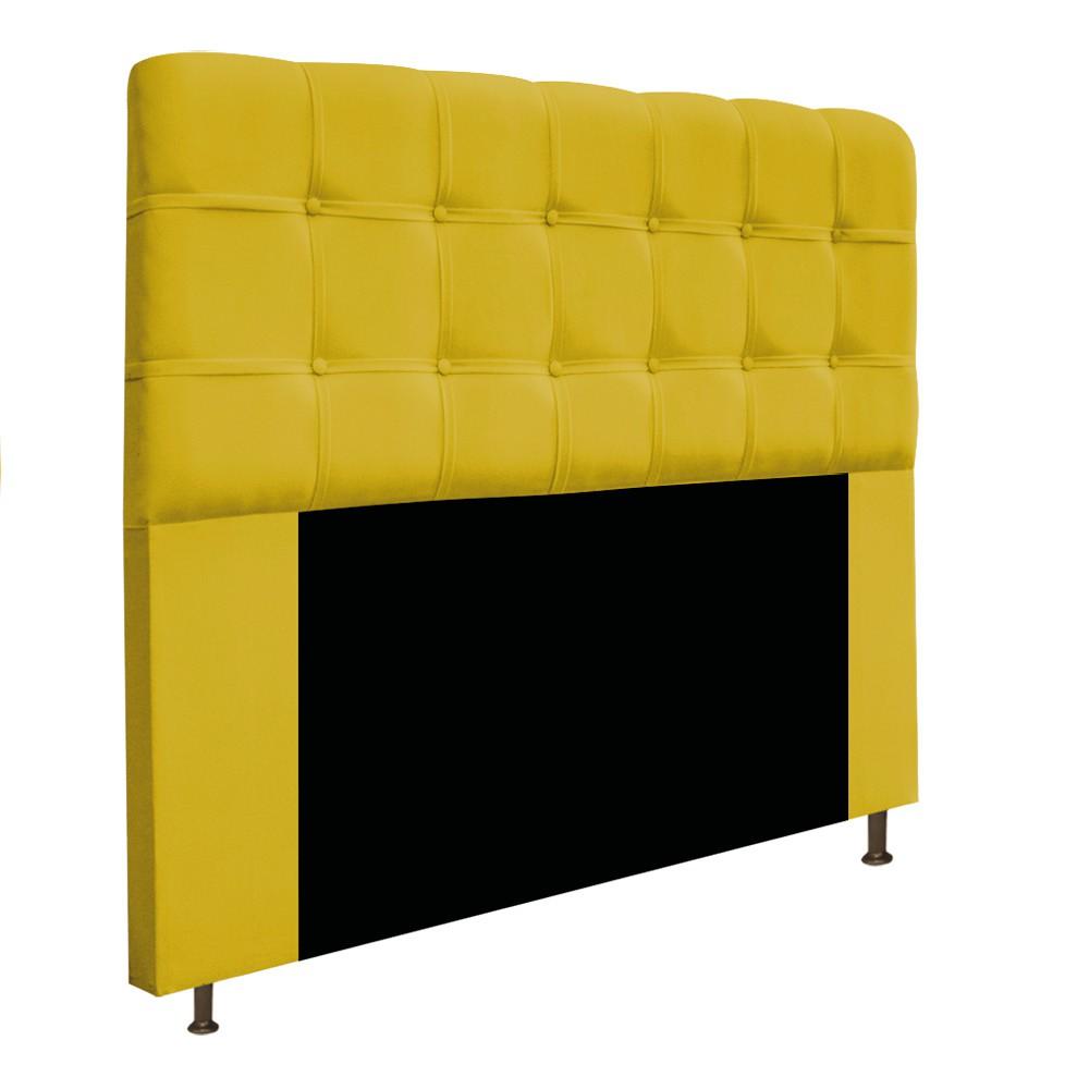 Cabeceira Estofada Mel 160 cm Queen Size Com Botonê Suede Amarelo - Doce Sonho Móveis