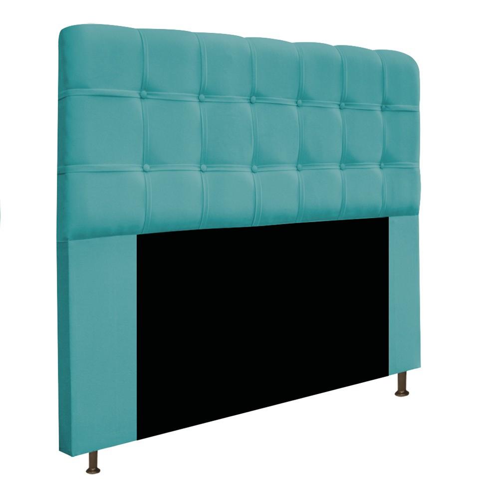 Cabeceira Estofada Mel 160 cm Queen Size Com Botonê Suede Azul Turquesa - Doce Sonho Móveis