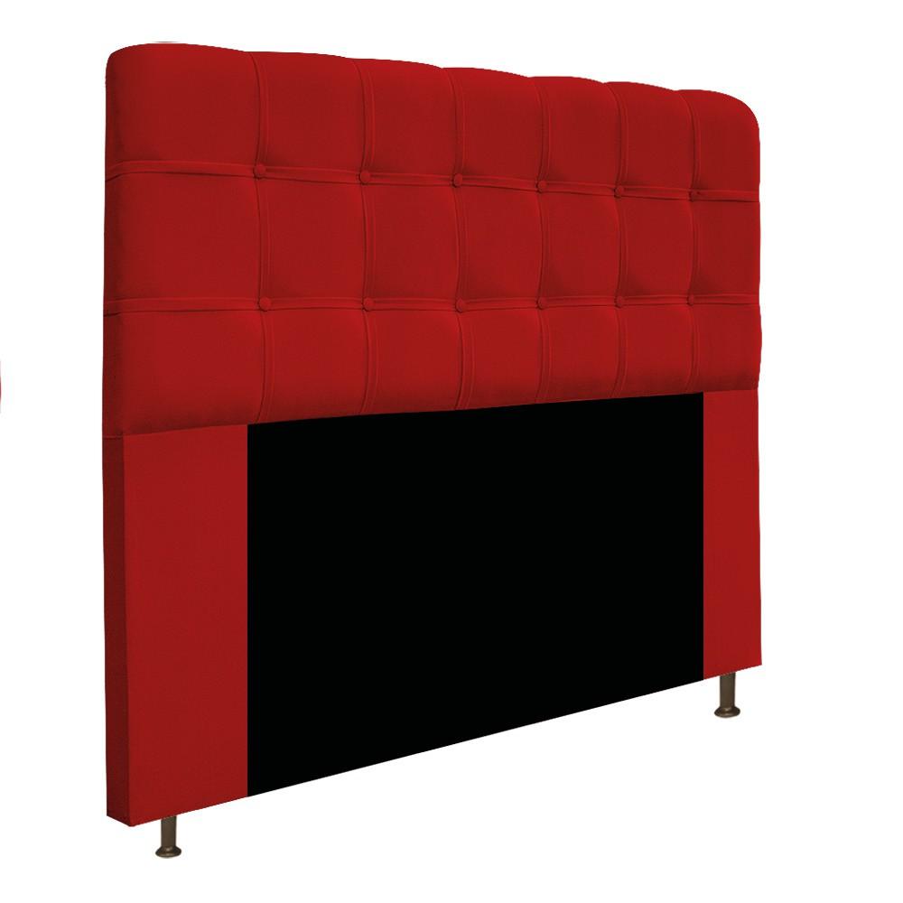 Cabeceira Estofada Mel 160 cm Queen Size Com Botonê Suede Vermelho - Doce Sonho Móveis