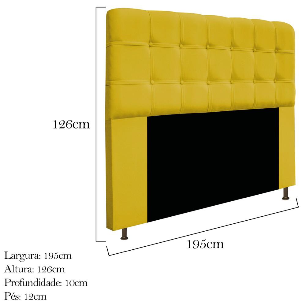 Cabeceira Estofada Mel 195 cm King Size Com Botonê Suede Amarelo - Doce Sonho Móveis
