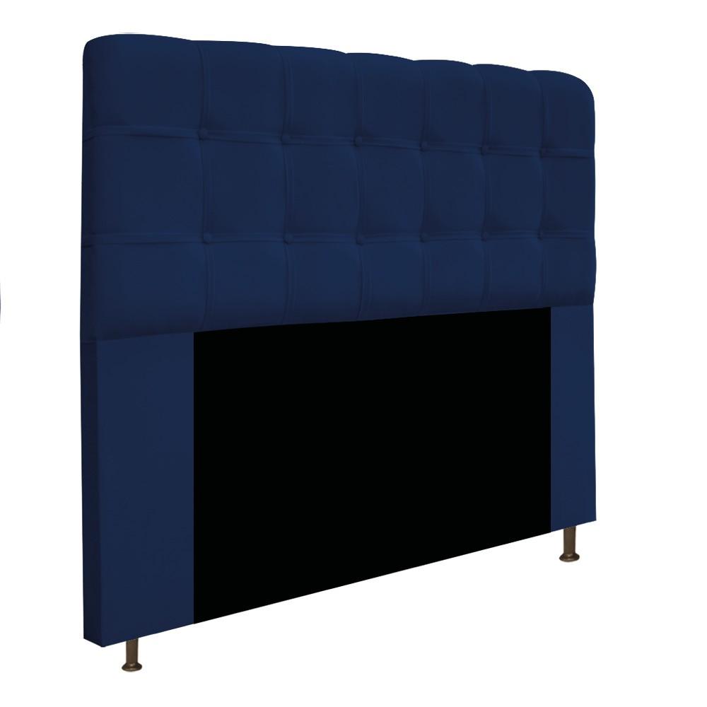 Cabeceira Estofada Mel 195 cm King Size Com Botonê Suede Azul Marinho - Doce Sonho Móveis