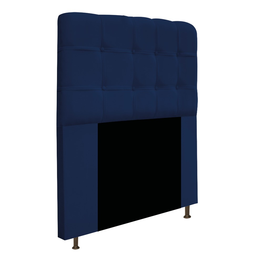 Cabeceira Estofada Mel 90 cm Solteiro Com Botonê  Suede Azul Marinho - Doce Sonho Móveis