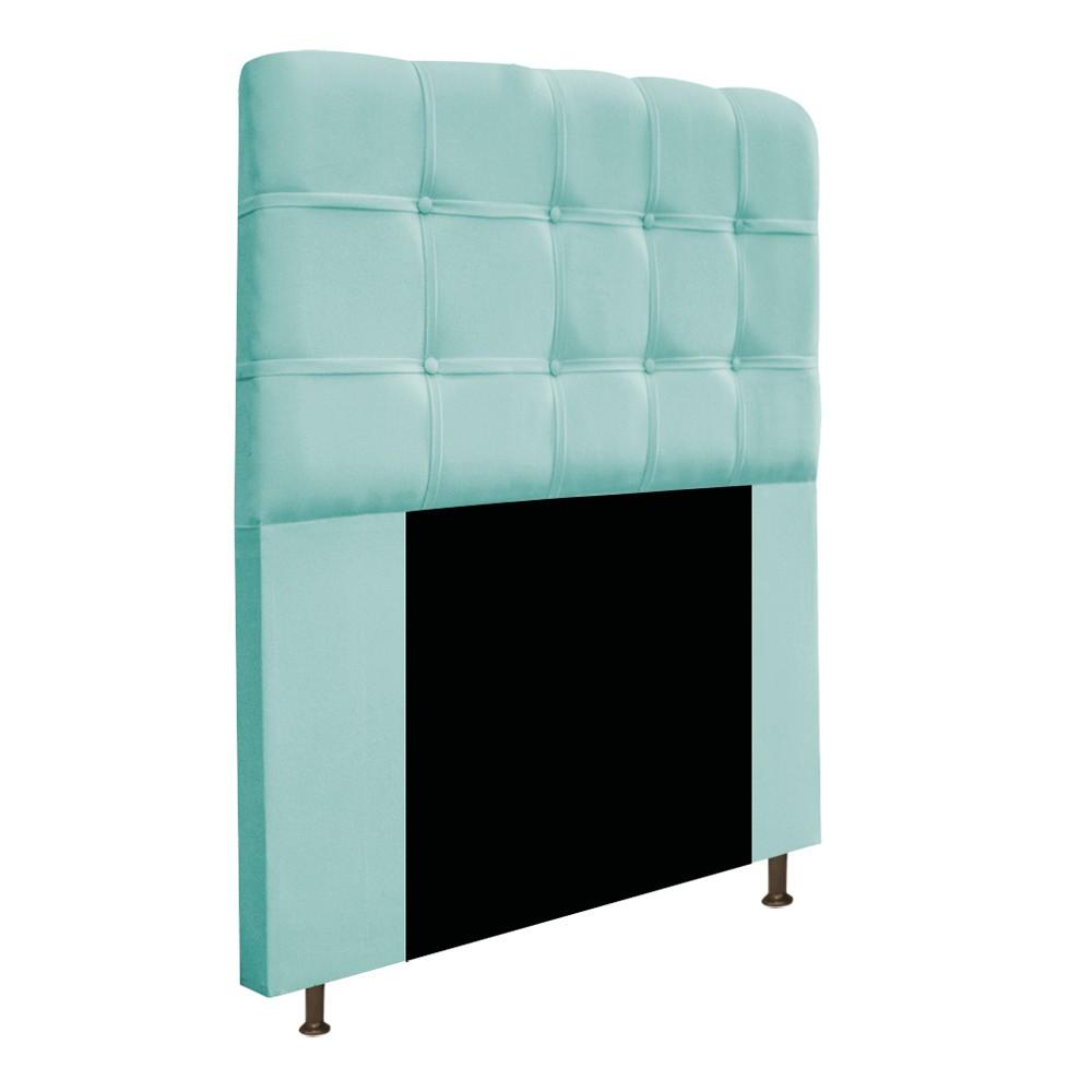 Cabeceira Estofada Mel 90 cm Solteiro Com Botonê  Suede Azul Tiffany - Doce Sonho Móveis