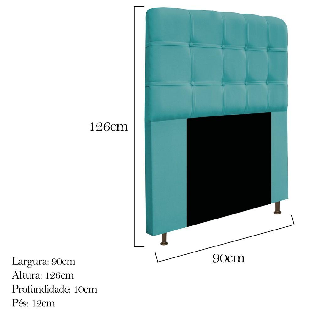Cabeceira Estofada Mel 90 cm Solteiro Com Botonê  Suede Azul Turquesa - Doce Sonho Móveis