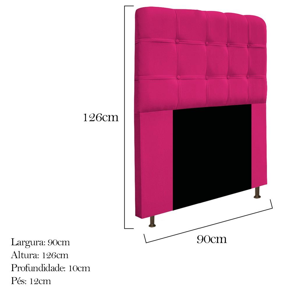 Cabeceira Estofada Mel 90 cm Solteiro Com Botonê  Suede Pink - Doce Sonho Móveis