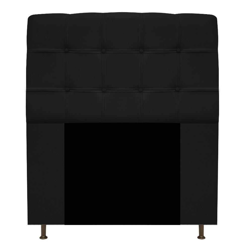 Cabeceira Estofada Mel 90 cm Solteiro Com Botonê  Suede Preto - Doce Sonho Móveis