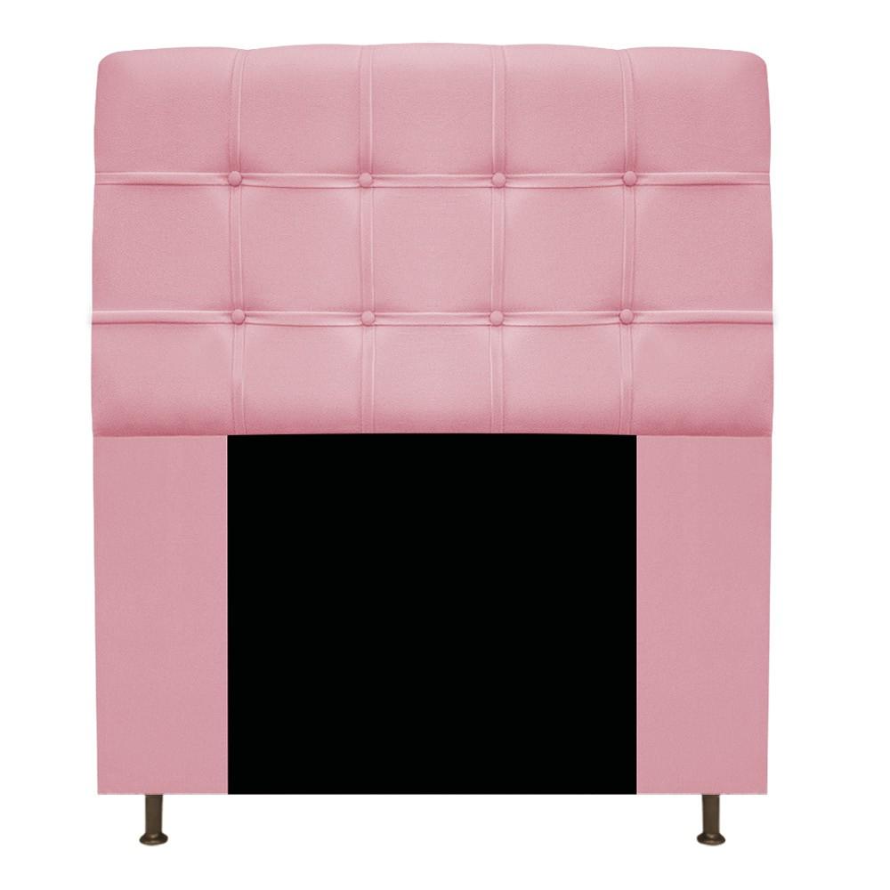 Cabeceira Estofada Mel 90 cm Solteiro Com Botonê  Suede Rosa Bebê - Doce Sonho Móveis