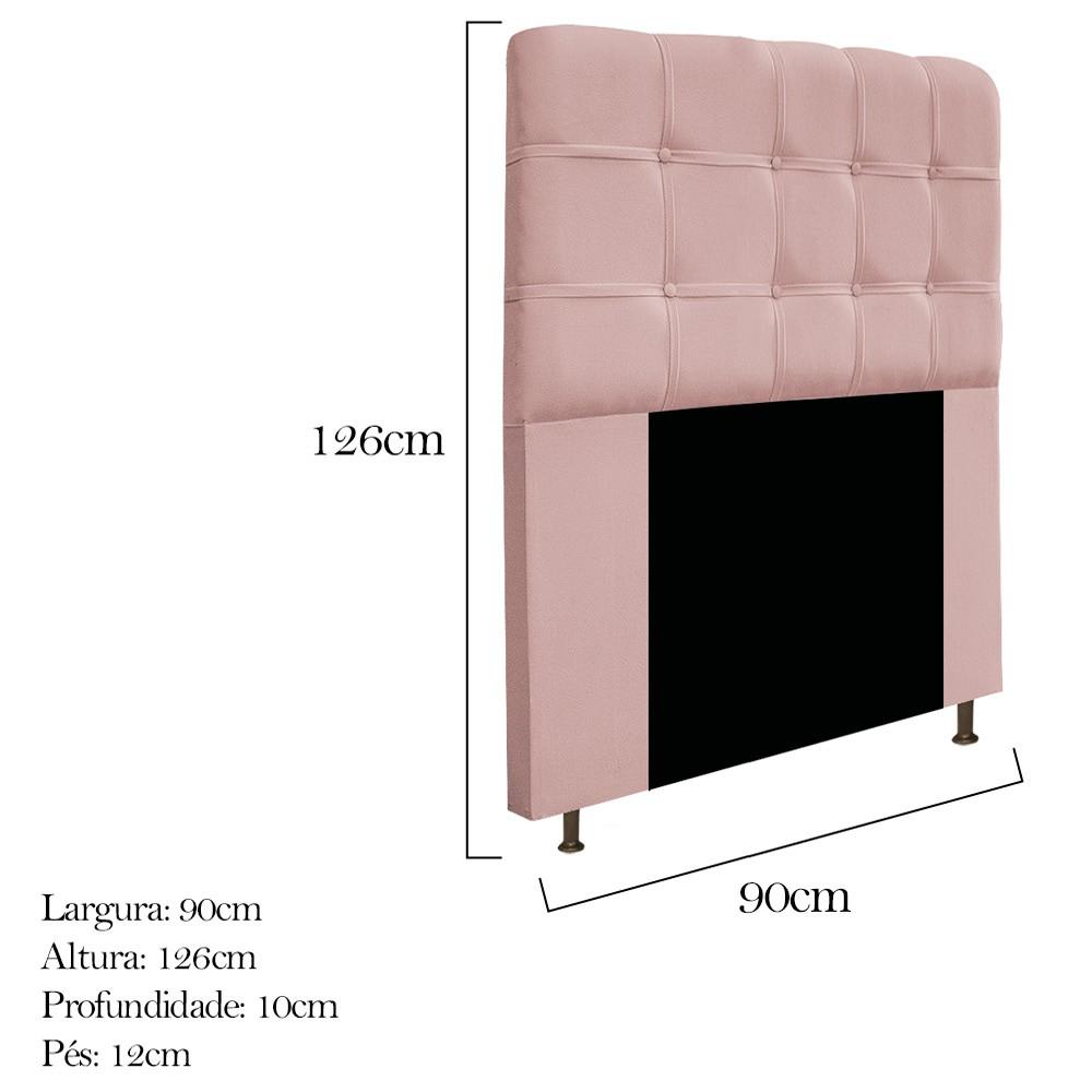 Cabeceira Estofada Mel 90 cm Solteiro Com Botonê  Suede Rosê - Doce Sonho Móveis