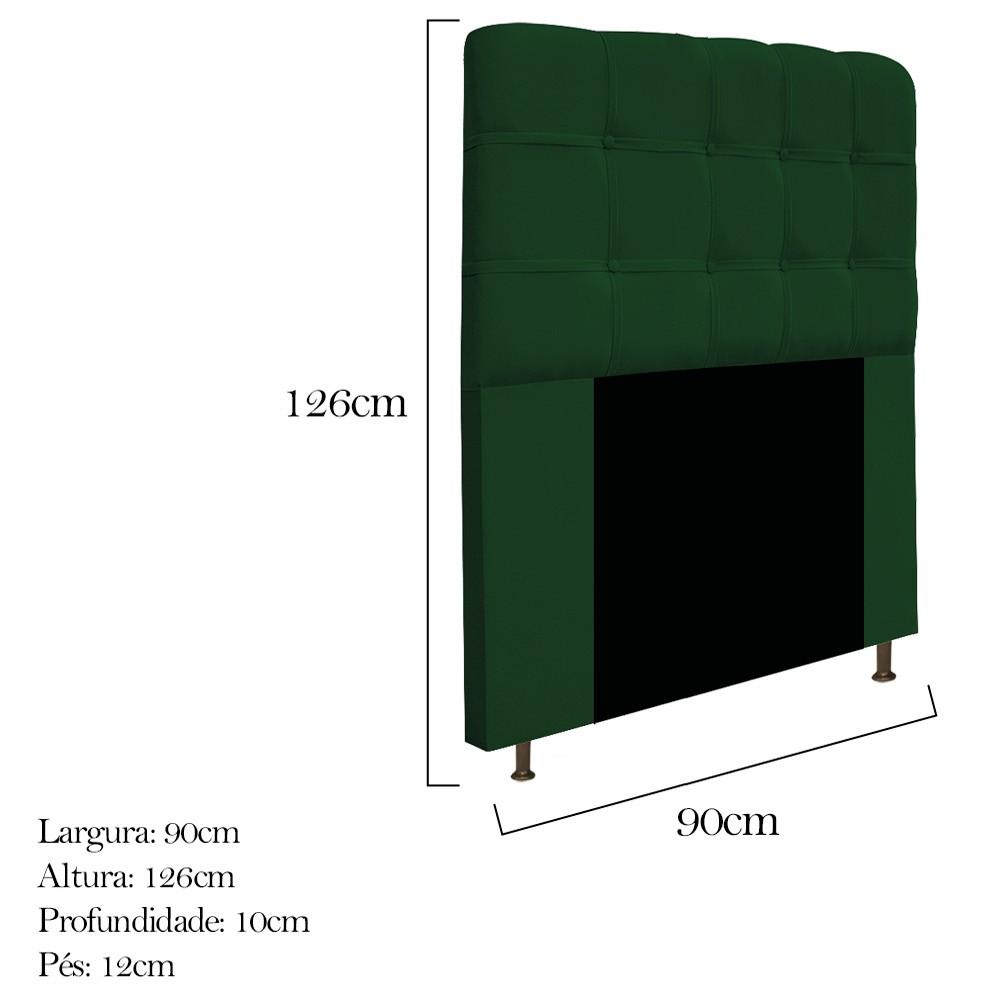 Cabeceira Estofada Mel 90 cm Solteiro Com Botonê  Suede Verde - Doce Sonho Móveis