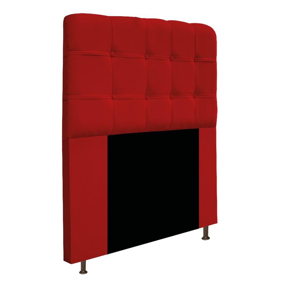 Cabeceira Estofada Mel 90 cm Solteiro Com Botonê Suede Vermelho - Doce Sonho Móveis