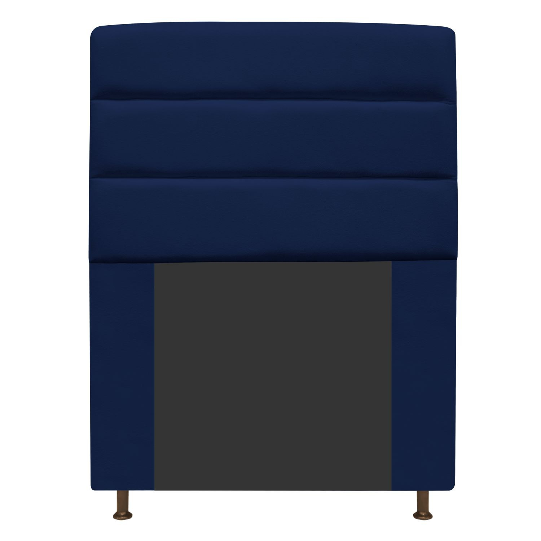 Cabeceira Estofada Turim 100 cm Solteiro Suede Azul Marinho - Doce Sonho Móveis