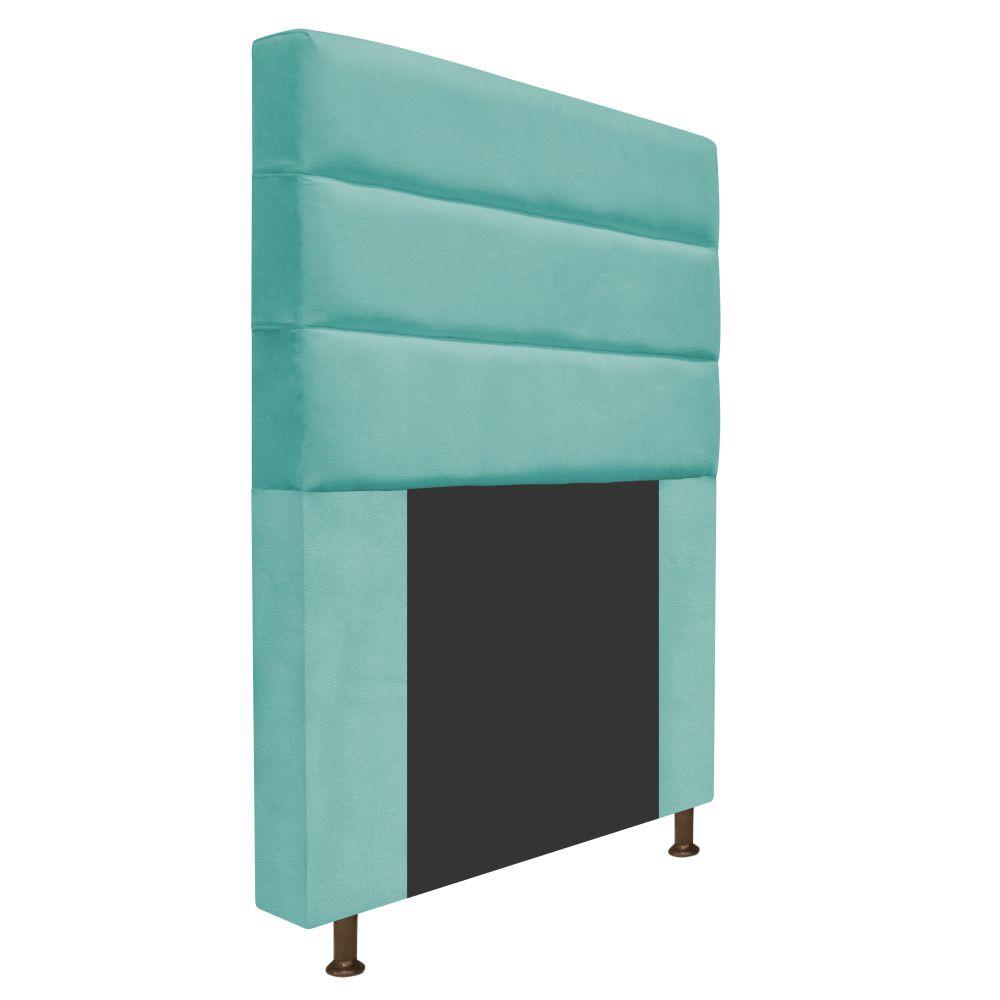 Cabeceira Estofada Turim 100 cm Solteiro Suede Azul Tiffany - Doce Sonho Móveis