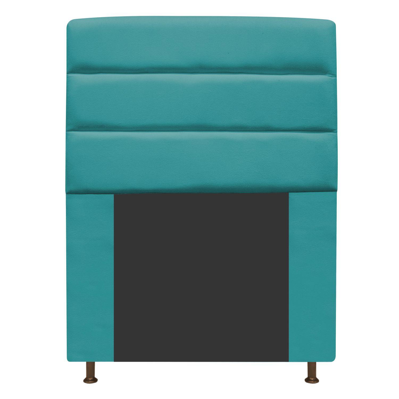 Cabeceira Estofada Turim 100 cm Solteiro Suede Azul Turquesa - Doce Sonho Móveis