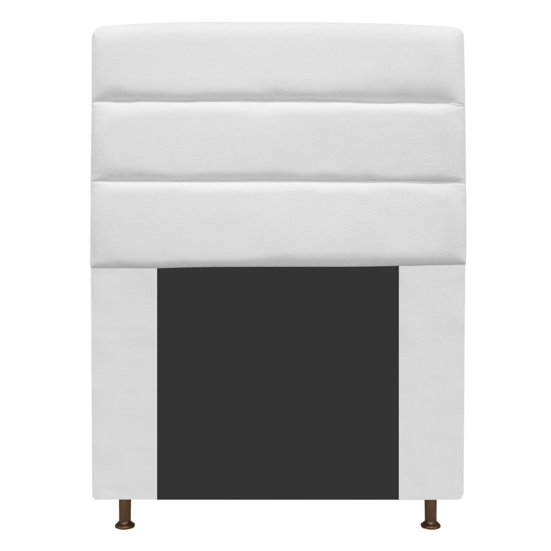 Cabeceira Estofada Turim 100 cm Solteiro Suede Branco - Doce Sonho Móveis