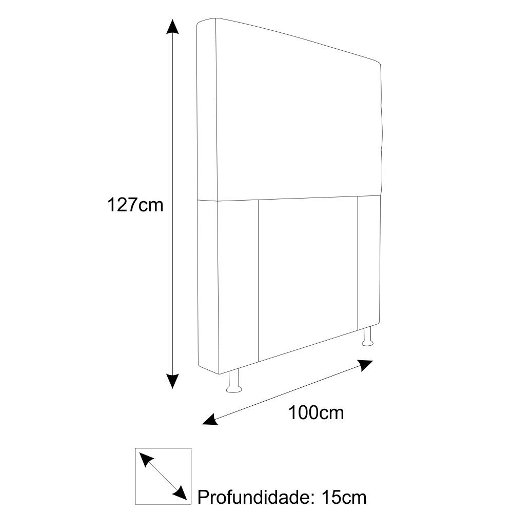 Cabeceira Estofada Turim 100 cm Solteiro Suede Cinza - Doce Sonho Móveis