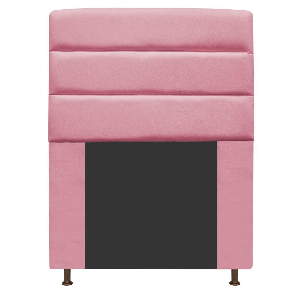 Cabeceira Estofada Turim 100 cm Solteiro Suede Rosa Bebê - Doce Sonho Móveis