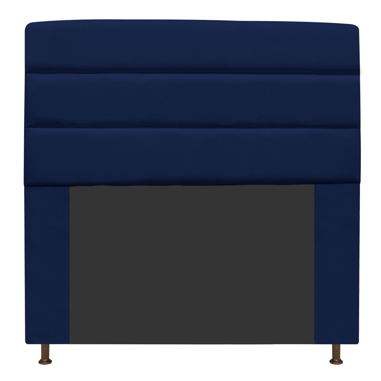 Cabeceira Estofada Turim 140 cm Casal  Suede Azul Marinho - Doce Sonho Móveis