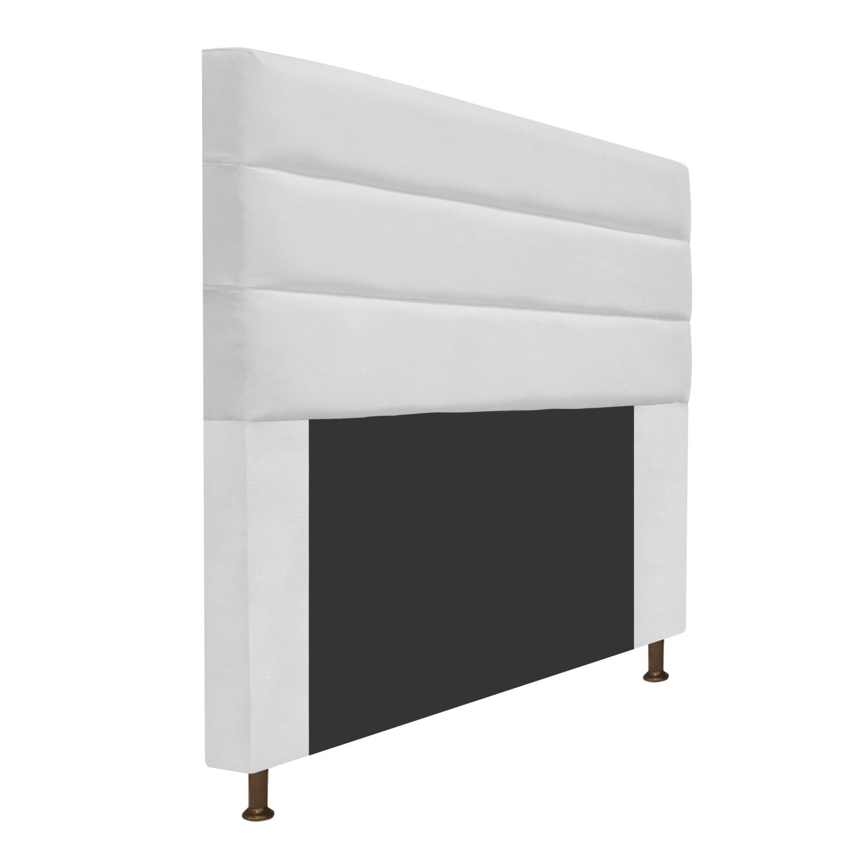 Cabeceira Estofada Turim 140 cm Casal  Suede Branco - Doce Sonho Móveis