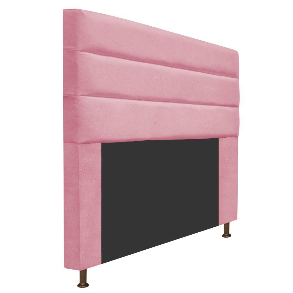 Cabeceira Estofada Turim 140 cm Casal  Suede Rosa Bebê - Doce Sonho Móveis
