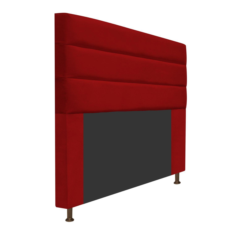 Cabeceira Estofada Turim 140 cm Casal  Suede Vermelho - Doce Sonho Móveis