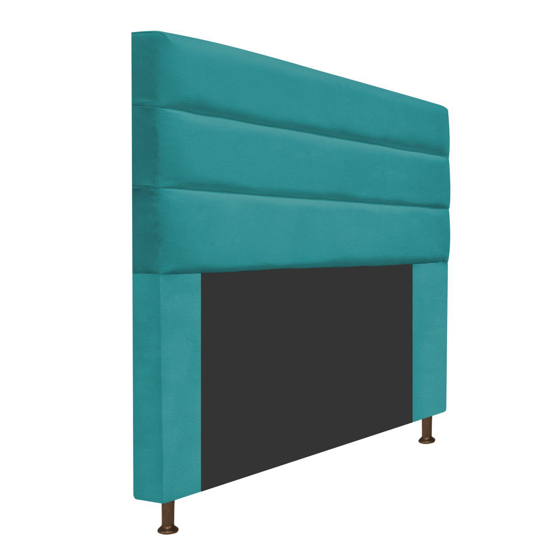Cabeceira Estofada Turim 160 cm Queen Size Suede Azul Turquesa - Doce Sonho Móveis
