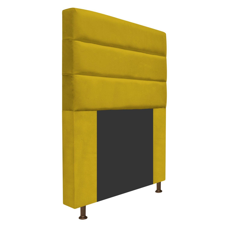 Cabeceira Estofada Turim 90 cm Solteiro  Suede Amarelo - Doce Sonho Móveis