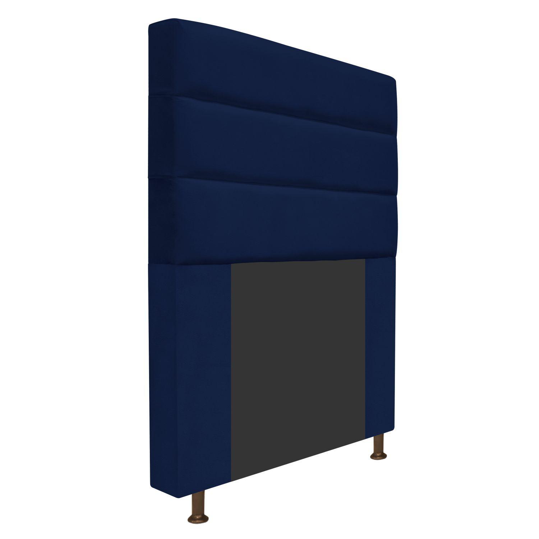 Cabeceira Estofada Turim 90 cm Solteiro  Suede Azul Marinho - Doce Sonho Móveis