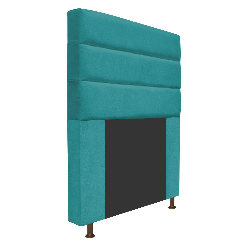 Cabeceira Estofada Turim 90 cm Solteiro  Suede Azul Turquesa - Doce Sonho Móveis