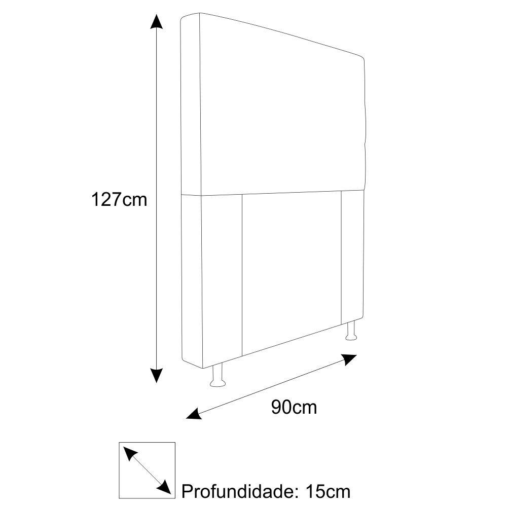 Cabeceira Estofada Turim 90 cm Solteiro  Suede Cinza - Doce Sonho Móveis