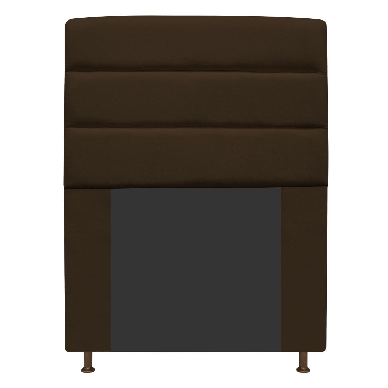 Cabeceira Estofada Turim 90 cm Solteiro  Suede Marrom - Doce Sonho Móveis
