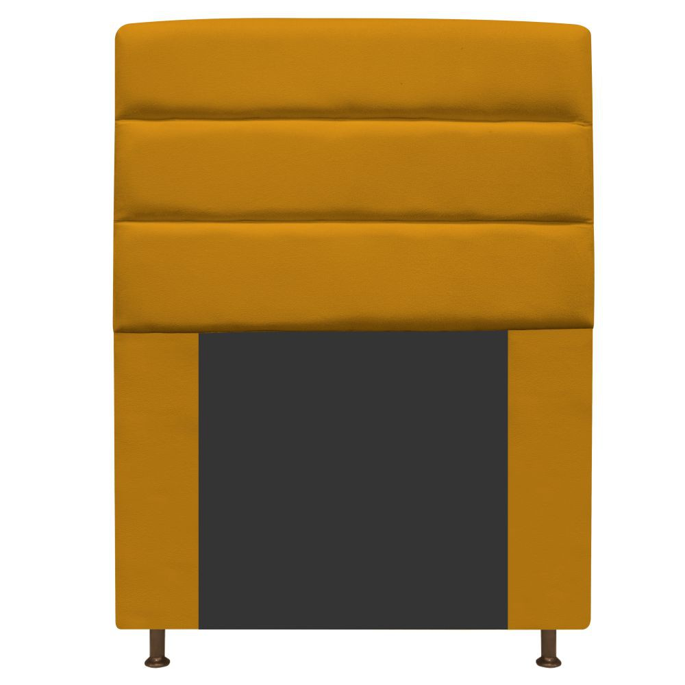 Cabeceira Estofada Turim 90 cm Solteiro  Suede Mostarda - Doce Sonho Móveis