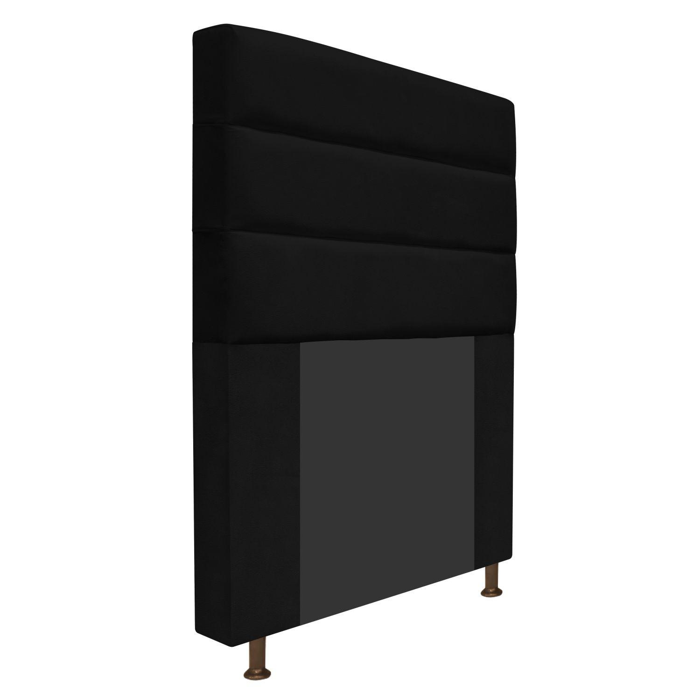 Cabeceira Estofada Turim 90 cm Solteiro  Suede Preto - Doce Sonho Móveis