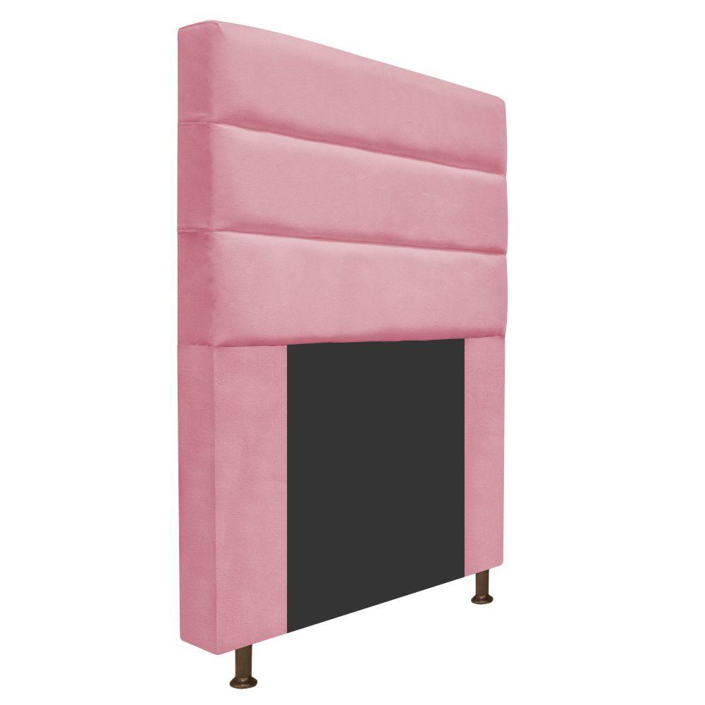 Cabeceira Estofada Turim 90 cm Solteiro  Suede Rosa Bebê - Doce Sonho Móveis