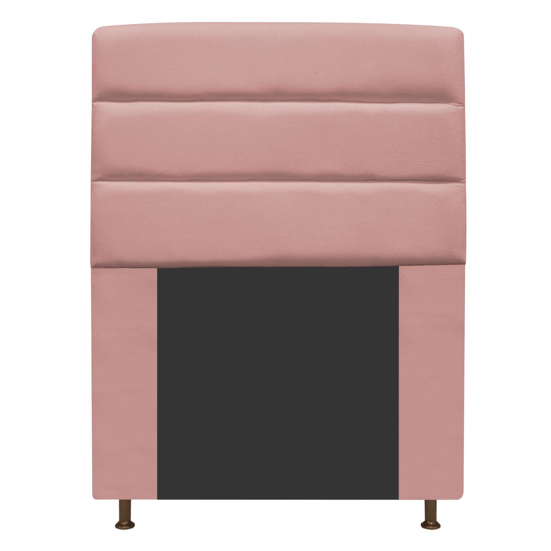 Cabeceira Estofada Turim 90 cm Solteiro  Suede Rosê - Doce Sonho Móveis