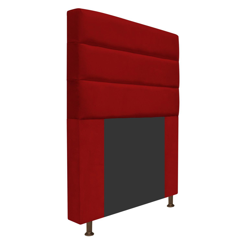 Cabeceira Estofada Turim 90 cm Solteiro  Suede Vermelho - Doce Sonho Móveis