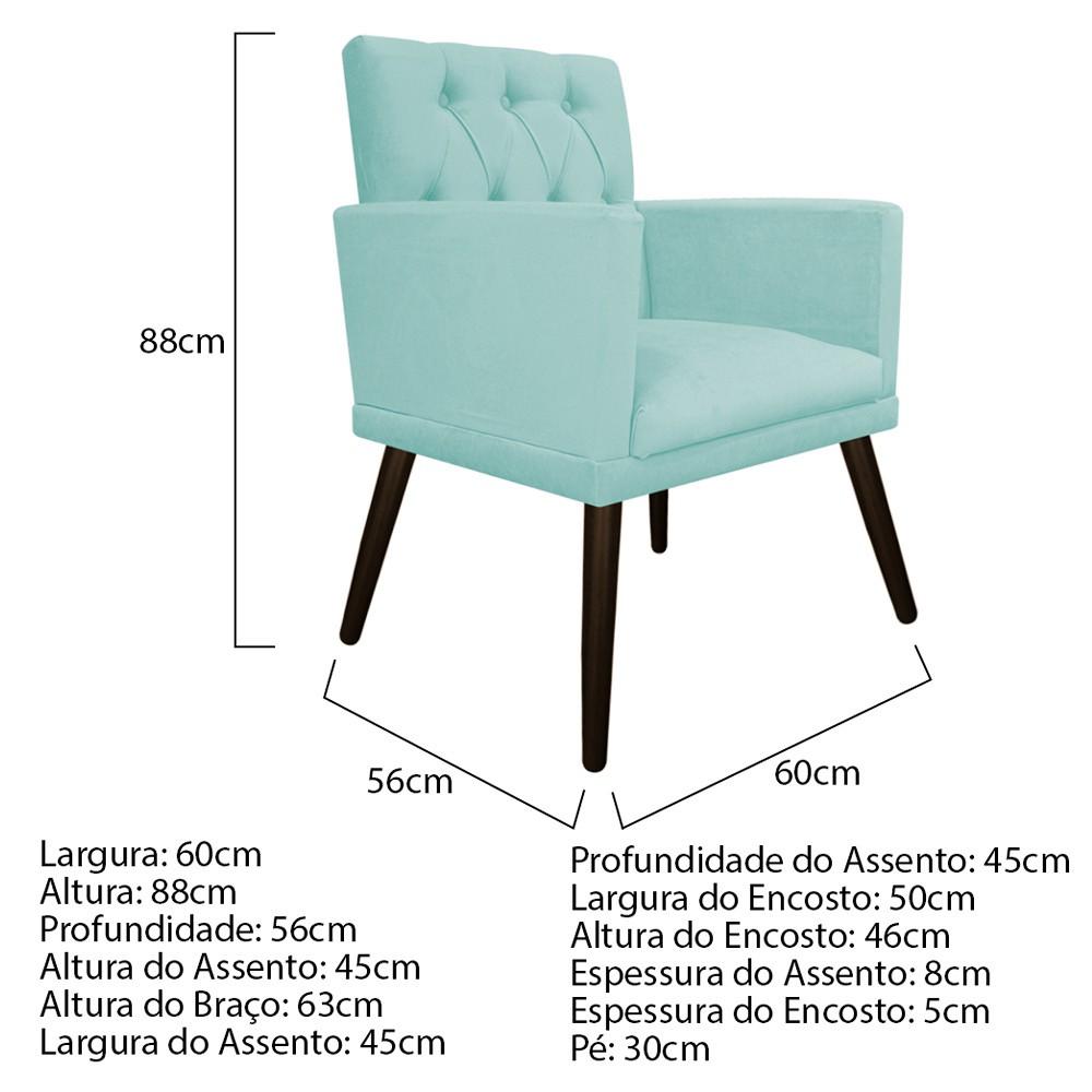 kit 02 Poltronas Fernanda Palito Tabaco Suede Azul Tiffany - Doce Sonho Móveis